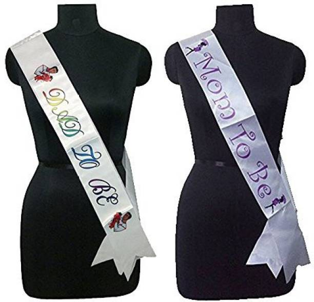 Party Propz MOM TO BE AND DAD TO BE SASH PACK OF 2/MOM TO BE PARTY DECORATION/ DAD TO BE PARYT SUPPLIES/BABY SHOWER PARTY ACCESSORIES