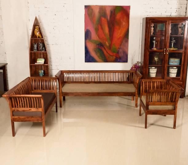 Induscraft Wooden Daisy Sheesham Fabric 3 Seater  Sofa