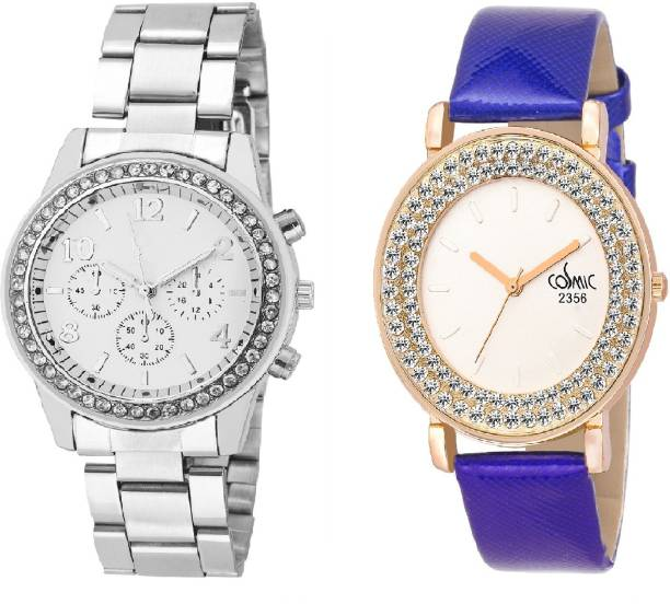 07fe949f1 COSMIC Rhinestone Studded Analog WHITE Dial WITH DIAMOND STUDDED AND  GLAMOROUS DIVA LADIES PARTY WEAR Watch