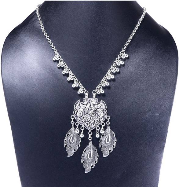 4545fb53885 Tarbiya Kraft Oxidised Silver Leaf Necklace for Women and Girls Metal  Necklace