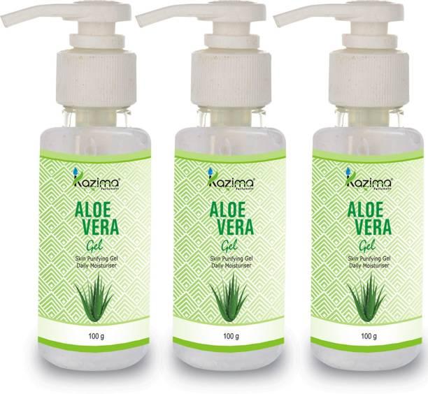 KAZIMA Pure Natural Aloe Vera Gel 100 Gram (Pack of 3) - Ideal for Skin Treatment, Face, Acne, Hair Treatment