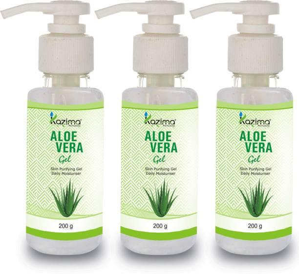 KAZIMA Pure Natural Aloe Vera Gel 200 Gram (Pack of 3) - Ideal for Skin Treatment, Face, Acne, Hair Treatment