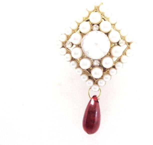 f420bd257 Khubsurat Designer Saree Pin Brooch, Gold Tone, Simulated Pearl & Stone  Stud, Plastic