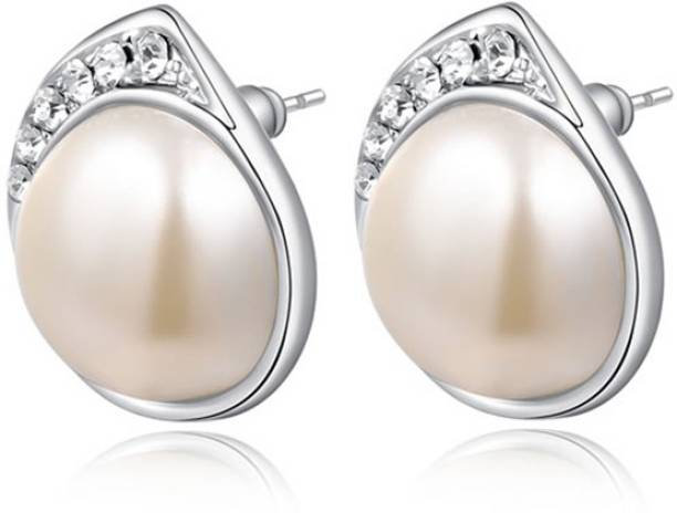 Silver Shoppee Silver Shoppee 'The glitterati' Crystal Sterling Silver Stud Earrings for Girls and