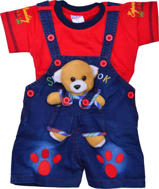 zadmus dungaree for boys girls casual embellished denim