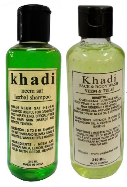 Khadi Herbal Neem & Tulsi Face & Body Wash and Neem Sat Shampoo