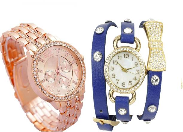 9103775ab COSMIC BEAUTIFUL BLUE BO -TIE DIAMOND STUDDED BRACELET WITH Rhinestone  Studded ROSE GOLD DIAL artificial