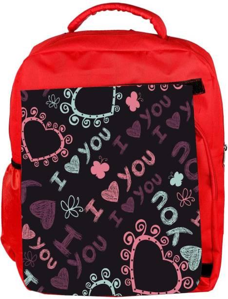 7b306ea13cd1 Snoogg Eco Friendly Canvas I Love You Black Pattern Designer Backpack  Rucksack School Travel Unisex Casual