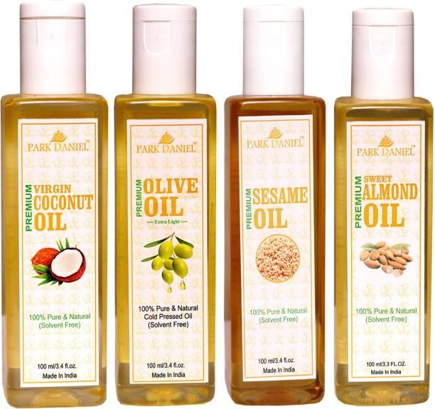 PARK DANIEL Premium Virgin Coconut oil, Olive Oil and Sesame oil and Sweet Almond oil Combo of 4 bottles of 100 ml(400ml)