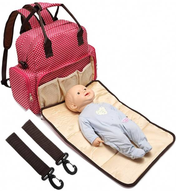 BABYMOON Multi Function 5 in 1 Waterproof 5 in 1 Polka Dotes Premium High Quality Waterproof Backpack Nappy Bag / Diaper Bag / Mother Bag