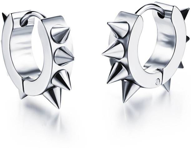 Yellow Chimes Silver Spiky Stainless Steel Studs Earrings Hoop Earring