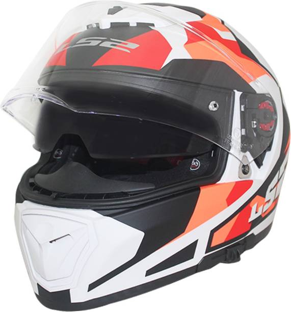74c9280a LS2 Helmet FF390-L Sergeant White Red Orange Matt With Smoke Goggle+Clear  Visor