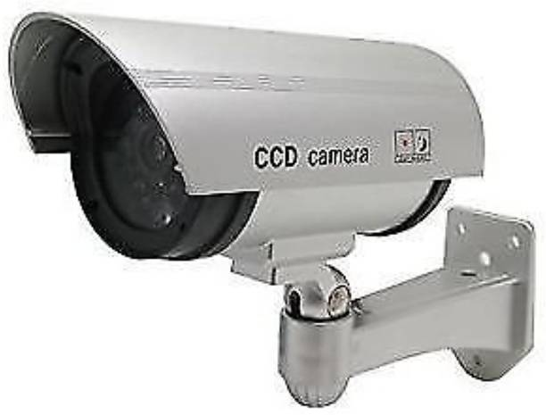 MK Realistic Looking Dummy Security CCTV Fake Bullet Camera With Flashing LED Light Security Camera