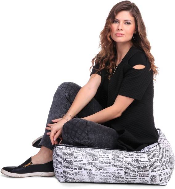 STYLE HOMEZ Large Cotton Canvas Newspaper Printed Square Floor Cushion Cotton Bean Bag Footstool  With Bean Filling