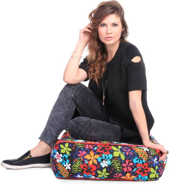 STYLE HOMEZ Large Cotton Canvas Floral Printed Square Floor Cushion Cotton Bean Bag Footstool  With Bean Filling