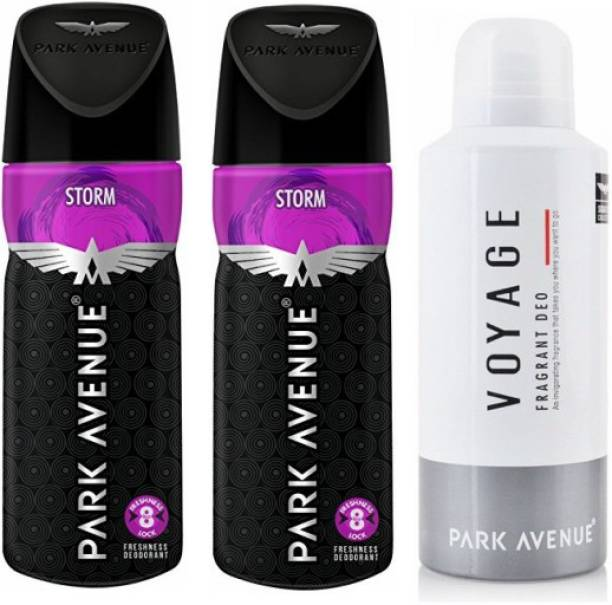 PARK AVENUE 2 Storm and 1 Voyage Deodorant Combo for Men (Pack of 3) Deodorant Spray  -  For Men