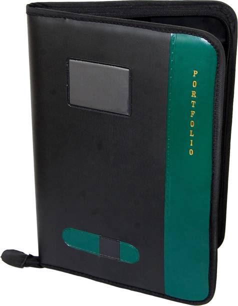 KITTU faux leather B4 Size ( Bigger Than A4) green colour Executive files and folders Certificate , Documents Holder With 20 Leaf ( Size B4) green