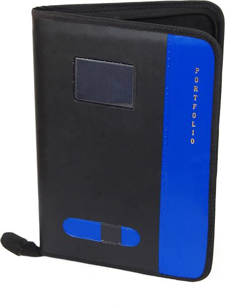 KITTU FAUX LEATHER B4 size (BIGGER THAN A4) Blue color Executive Files And Folders, Certificate, Documents Holder With 20 Leaf ( size B4 )