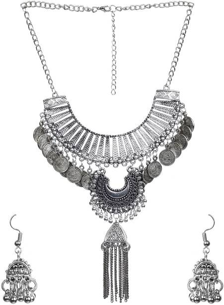 35a4d0ebe5598a NAWAB Nawab long afgani boho enamel work meenakari necklace set with  earrings-silver Alloy Necklace