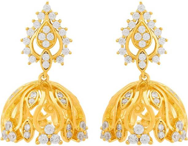 7825c499d33b Voylla Swarnam Gold Plating Jhumka Style Earrings Cubic Zirconia Brass  Jhumki Earring