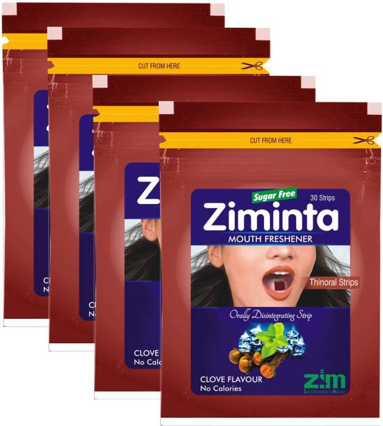 Ziminta Mouth Freshener Orally Disintegrating Strips ( Sugar Free ) - 30 Strips (Cloves Flavour) - Pack Of 4 Strip