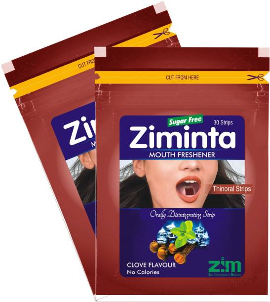 Ziminta Mouth Freshener Orally Disintegrating Strips ( Sugar Free ) - 30 Strips (Cloves Flavour) - Pack Of 2 Strip
