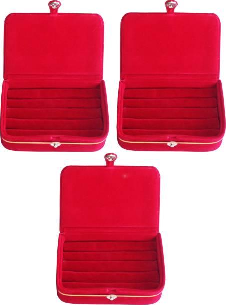 Ajabh Pack of 3 maroon ring folder Studs Tops jewelry cosmetic case Vanity Box makeup Vanity Box