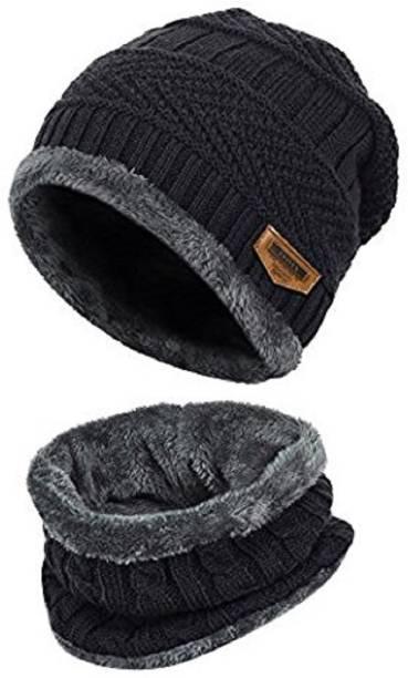 HANDCUFFS Pure Woolen Skull Cap WIth Muffler  Beanie - Blue - Unisex - Winter  Cap c6a0ac3bb5c