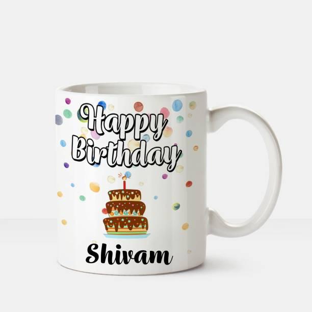 HUPPME Happy Birthday Shivam Printed Coffee White Ceramic Coffee Mug