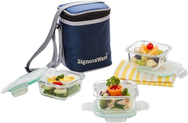 Signoraware Director Glass 3 Containers Lunch Box