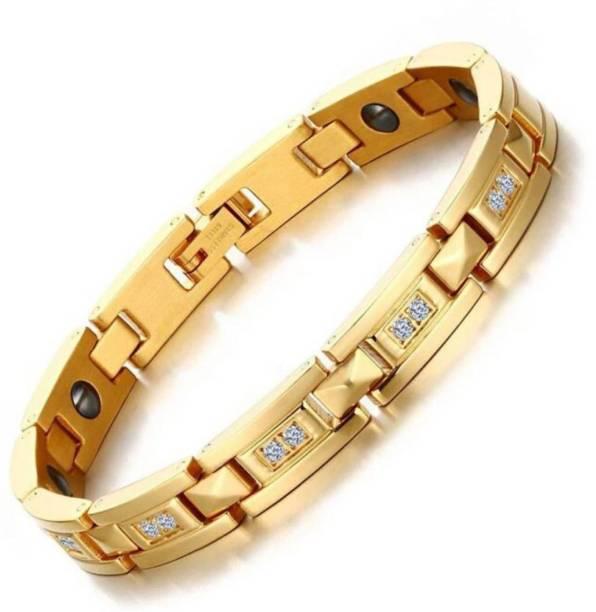 University Trendz Stainless Steel, Metal Gold-plated Bracelet