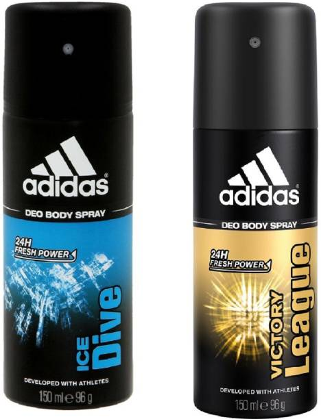ADIDAS Ice Dive and Victory League Deodorant Body Spray Pack of 2 (150ML each) Combo Deodorant Spray  -  For Men