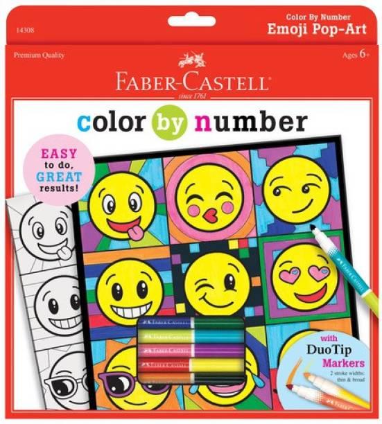 FABER-CASTELL Color By Number Emoji Pop-Art (Duotip Markers)