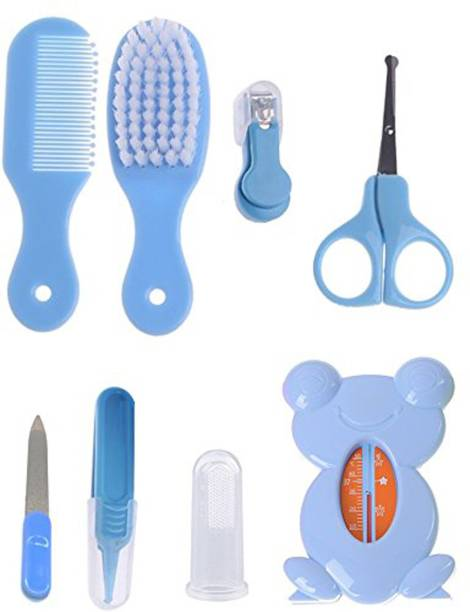 SYGA Premium Quality 8 Pcs Health Care Kit for Newborn Baby Kids Nail Hair Thermometer Grooming Brush - Blue