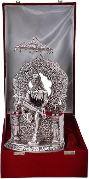 INTERNATIONAL GIFT Silver Plated Sai Baba Statue Hindu God Idol Showpiece I Handicraft I Home Decor I Gift Item | Religious Idol Religious Tile
