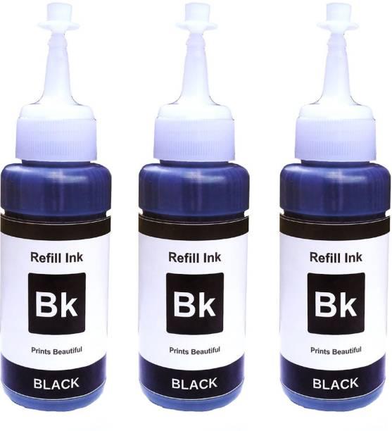 Epson Black Refill Ink 75ml x 3 Bottle For L100, L120, L130, L200, L210, L220, L230, L300, L310, L350, L355, L360, L361, L365, L385, L455, L485, L550, L565, L605, L655, L1300, L1455, L800, L805, L850, L810, L1800 - Compatible 225ml T664 1 & T673 1 Black Ink Cartridge