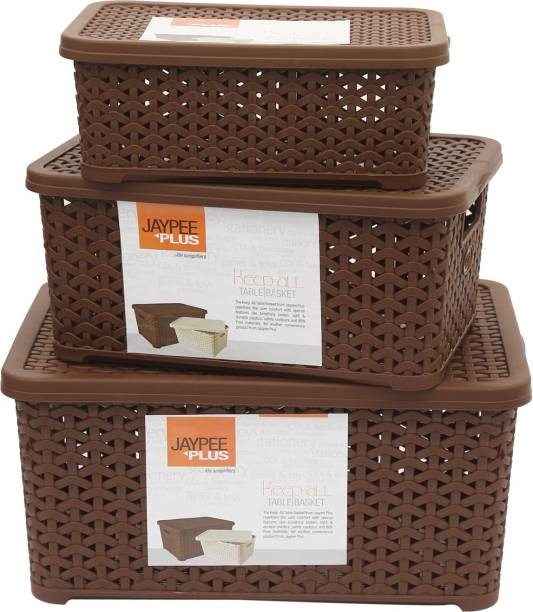 Jaypee Plus Keep All Big, Small & Mini ,Brown Storage Basket