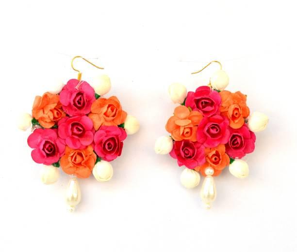 59719969f Floret Multi Color Pearl Flower Earrings for Woman & Girls  (Mehandi/Haldi/Wedding
