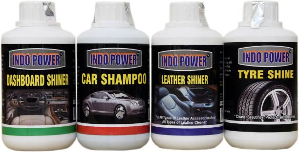 INDOPOWER CAR DASHBOARD POLISH, LEATHER ,TYRE POLISH, CAR WASH SHAMPOO COMBO PACK 250ml. Car Washing Liquid