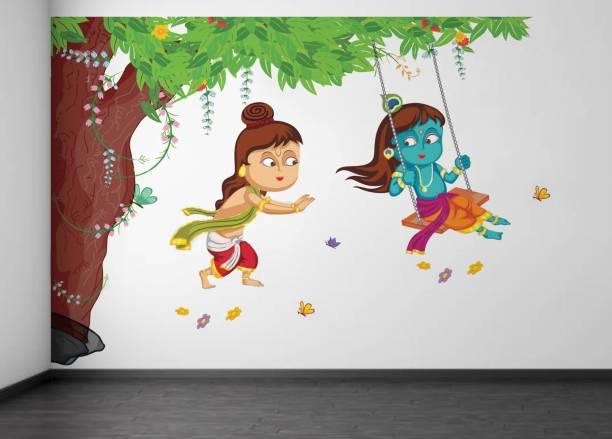 rawpockets Lord Krishna Playing Swing under Tree