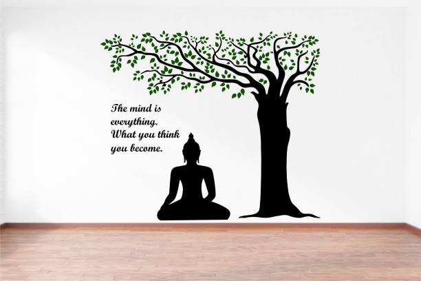 Rawpockets Lord Buddha under Tree and Quote on Mind