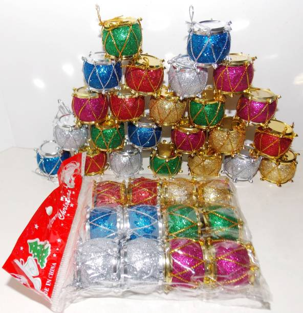 KONIT Pack Of 36 Christmas Decoration Drum Hanging Ornaments Pack of 36