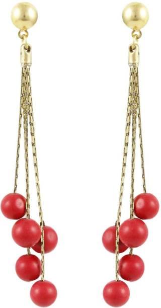 Karatcart Long Chain Pearl Fashion Earrings For Women Red Alloy Drop Earring