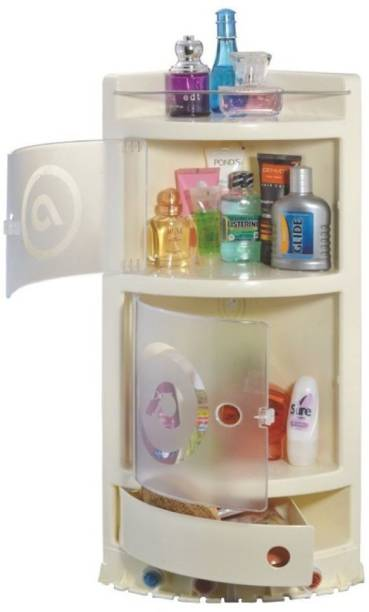 Pearl Precision Products Corner Cabinet PVC Bathroom Cabinet IVORY COLOR Plastic Wall Shelf
