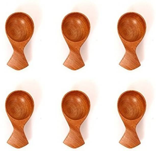 The Indus Valley Neem Wood Masala Spoon - Set of 6 For SMALL CONTAINERS (Table Spoon Size). Handmade Spoon For TEA, COFFEE, SUGAR, CONDIMENTS AND SPICES Wooden Measuring Spoon Set