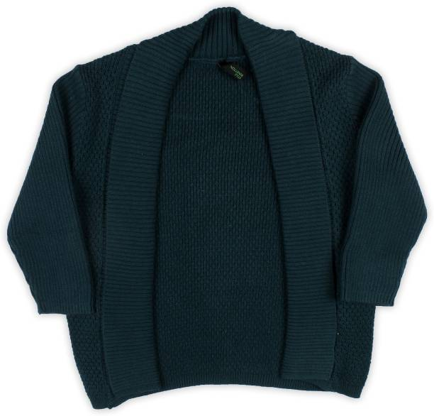 f5483bff02 United Colors of Benetton Solid V-neck Casual Girls Dark Green Sweater