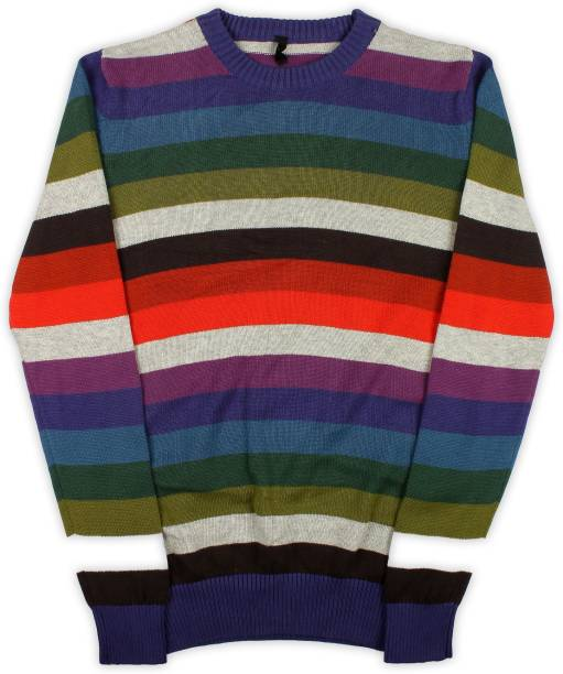 b1d20fc16 United Colors of Benetton Striped Round Neck Casual Baby Boys Multicolor  Sweater