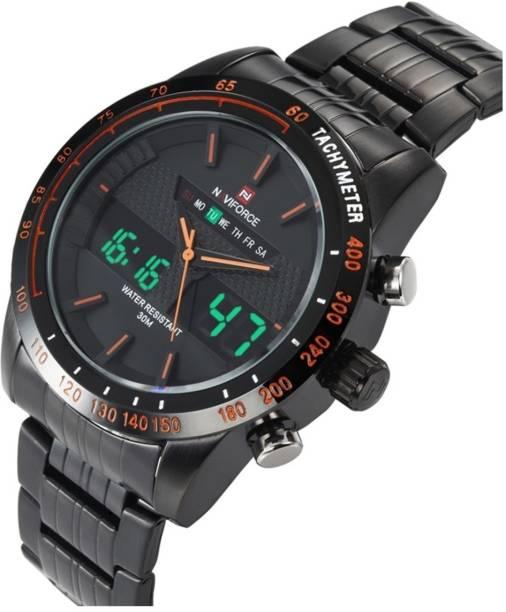 ff3df98c619 Naviforce AQUANAVIF001 NAVIFORCE 9024 luxury brand Full Steel japan  movement relogio masculino Quartz Clock Digital LED