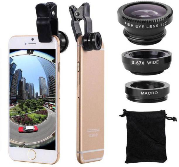vipar Universal 3 in 1 Mobile Camera Lens With Macro, Fiesheye & Wide Angel Lens for Smartphones Photography Mobile Phone Lens