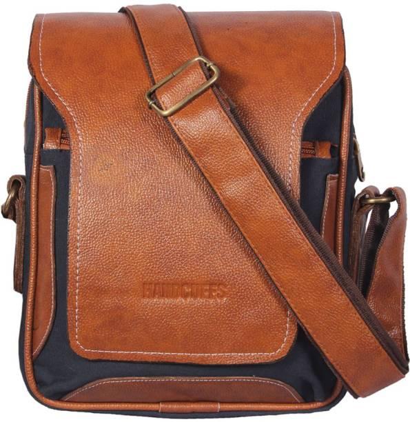19c08a7619f7 HANDCUFFS stylish side sling bag shoulder bag leather bag 12 inch for men s   gents(